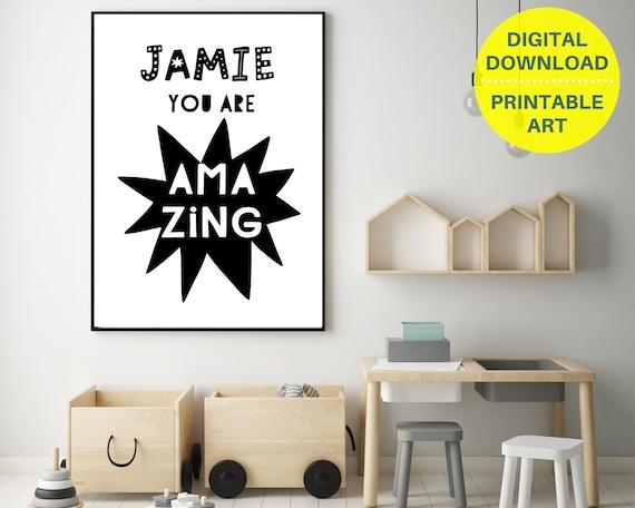 PRINTABLE Personalized Scandi kids print, gift for boy, custom kids wall art, kids room decor, monochrome nursery, You Are Amazing quote art