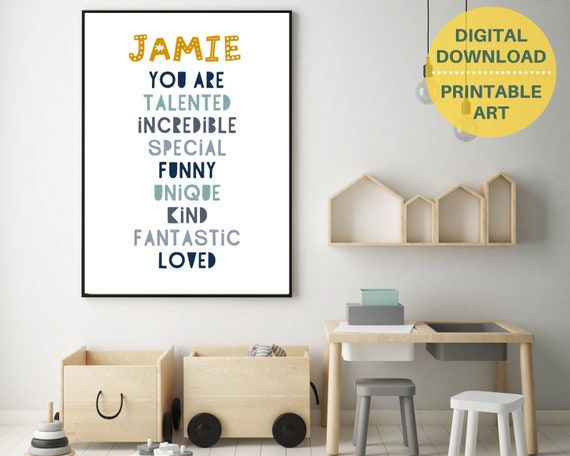 Boys nursery decor, You Are Loved print, personalized gift for boy, downloadable art, boys daily affirmation print, kids inspirational print
