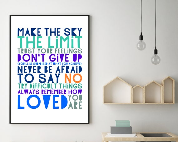 PRINTABLE Don't Give Up poster, gift for teen boy, boys wall art, teen room decor, teen boy inspirational poster, boys positive quote art