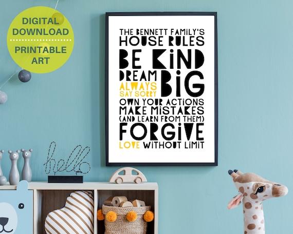 PRINTABLE family rules poster, personalized gift for family, custom family room decor, household rules print, monochrome word art