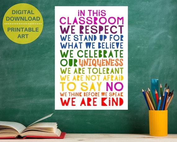 PRINTABLE classroom inclusivity poster, We Are Kind wall art, classroom decor, kids classroom rules sign, rainbow classroom, positive art