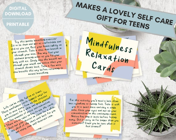 Mindfulness relaxation cards, stress relief for teens, mindful printable cards, self care gift for teen, mindfulness gifts, care package