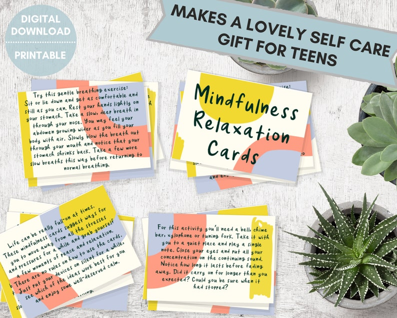 Mindfulness relaxation cards stress relief for teens mindful image 0