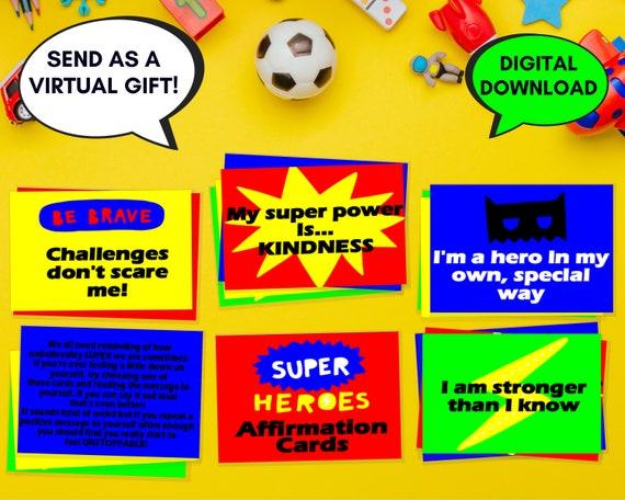 Affirmation cards, kids PRINTABLE positive affirmations set, superhero gift for kids, childrens self care activity, mood cards, positivity