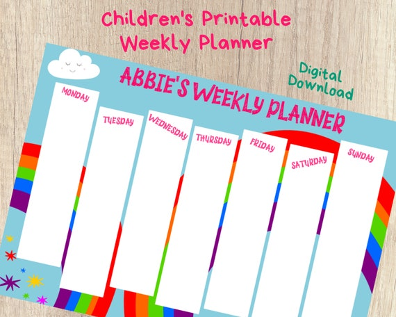 Personalized homeschool weekly planner, kids weekly routine schedule, rainbow homeschool schedule chart, girls homeschool planner, PRINTABLE