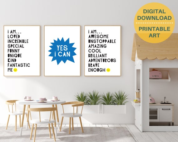 3 classroom inspirational quote digital poster prints, kids positive wall art, classroom decor, classroom prints bundle, INSTANT DOWNLOAD