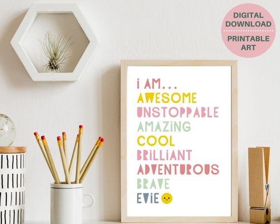 Girls bedroom decor, PRINTABLE, I Am Awesome girls personalised print, gift for girl, custom girls name sign, girls inspirational quote
