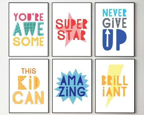 PRINTABLE classroom posters, kids encouragement prints, set of 6, classroom decor, educational prints, motivational art, grade school decor