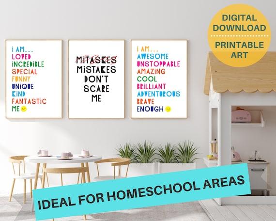 3 classroom motivational quote digital poster prints, positive wall art for kids, classroom decor, classroom prints bundle, INSTANT DOWNLOAD