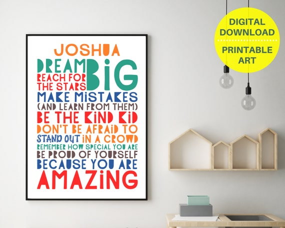 PRINTABLE Dream Big personalized poster, class art, custom teen boys wall art, teen room decor, teens inspirational poster, boy positive art