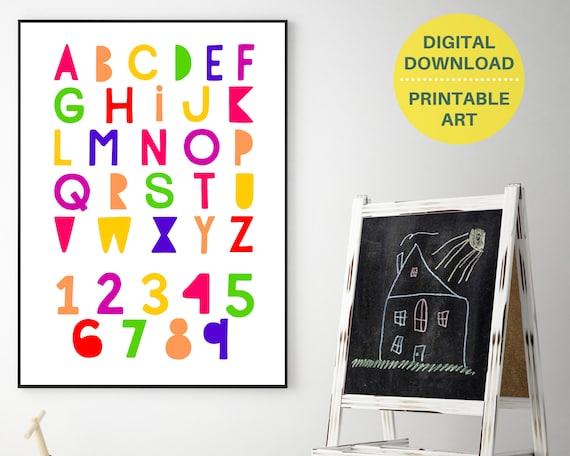 PRINTABLE alphabet and numbers poster, kids educational wall art, classroom decor, homeschool decor, rainbow letter art, playroom poster