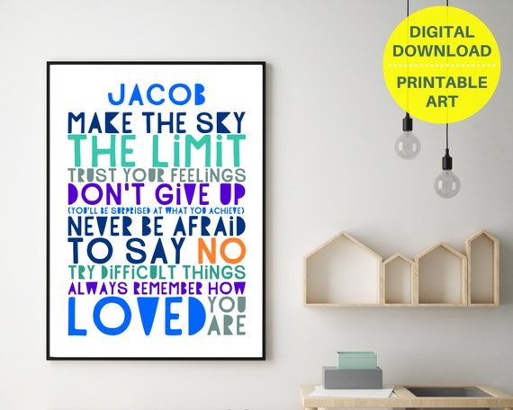 Gift for teen boy, Don't Give Up personalized poster, teen room decor, teen boy inspirational poster, boys positive quote art, digital print