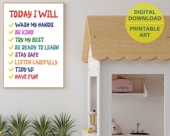 PRINTABLE classroom decor, kids rules wall art, classroom rules poster, classroom door sign, elementary school print, primary school print