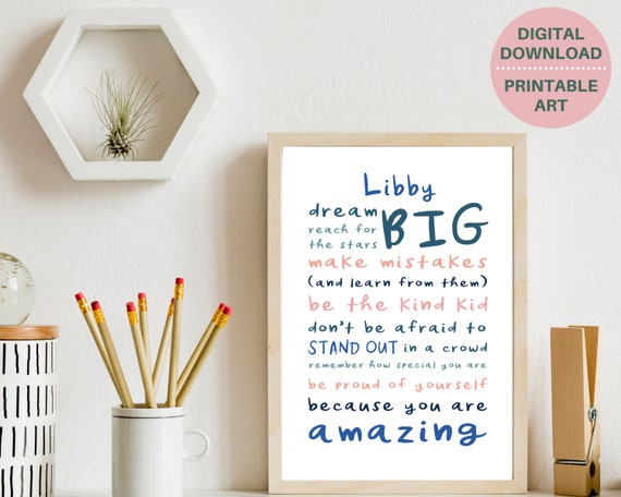 Girls motivational quote personalized poster, PRINTABLE custom girl wall art, teen room decor, inspirational poster, teens positive quote
