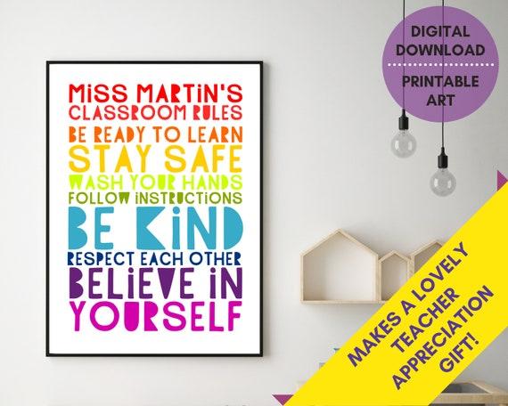 Teacher gift, PRINTABLE Stay Safe, Be Kind poster, classroom rules sign, custom teacher appreciation, classroom decor, educational print