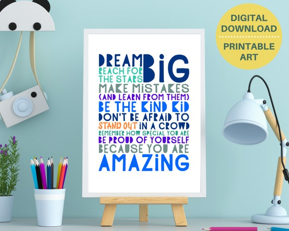 PRINTABLE encouragement quote poster, gift for teen boy, teen room decor, teens inspirational quote print, positive wall art