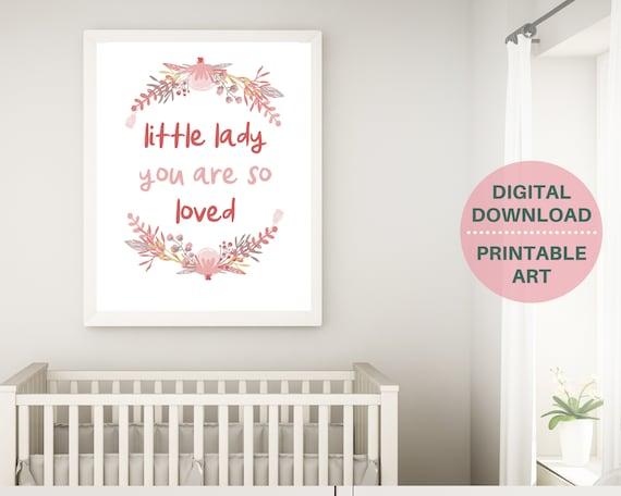 PRINTABLE girl nursery decor, nursery wall art, You Are So Loved print, baby shower gift for girl, girls blush pink nursery, floral baby art