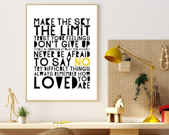 PRINTABLE positive word art poster, gift for teen, teen monochrome room decor, teens inspirational quote print, empowerment wall art
