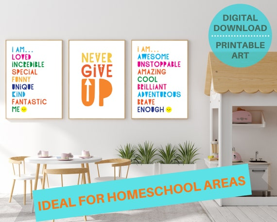 3 classroom positivity quote digital poster prints, kids motivational wall art, classroom decor, classroom prints bundle, INSTANT DOWNLOAD