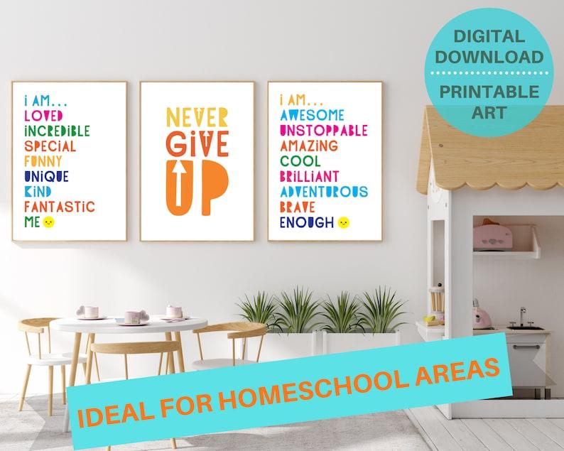 3 classroom positivity quote digital poster prints kids image 0