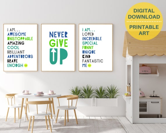 PRINTABLE classroom encouragement quote poster set, kids motivational wall art, classroom decor, classroom prints bundle, inspirational art