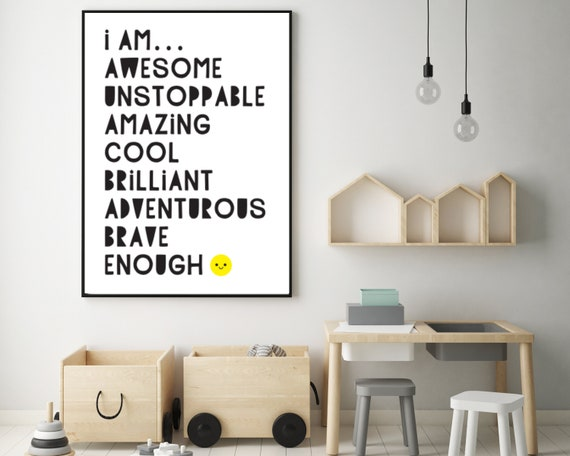 I Am Awesome monochrome printable wall art, kids encouragement art, kids room decor, typography poster, childrens wellbeing,INSTANT DOWNLOAD