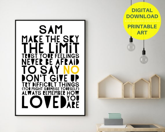 PRINTABLE positive quote personalized poster, custom teen wall art, teen room decor, teen inspirational poster, monochrome word art print