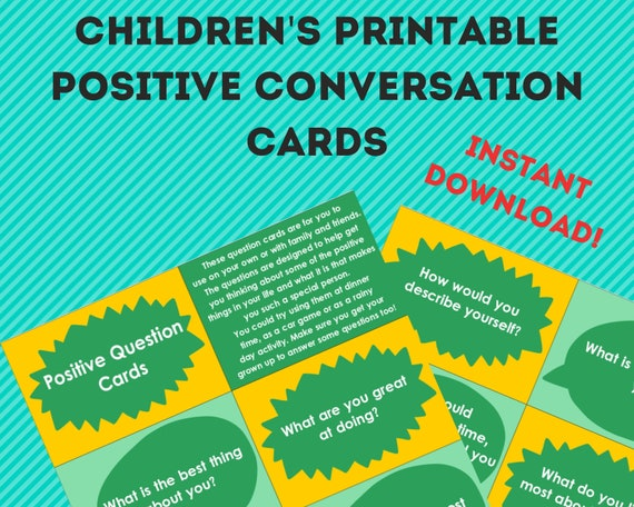 PRINTABLE Kids conversation starter cards, gift for kids, quiet time activity, family activity, downloadable kids game, kids positive cards