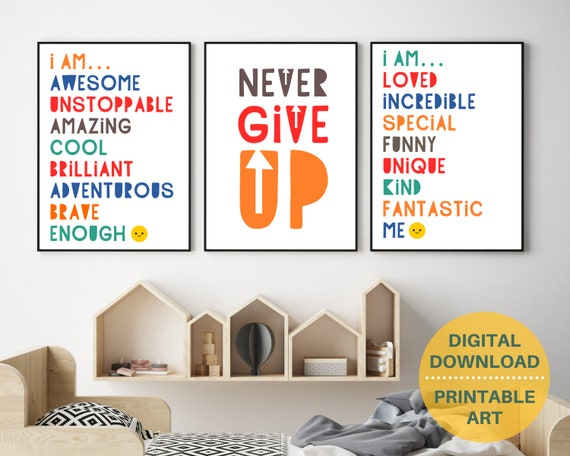 PRINTABLE motivational quote digital poster prints, kids positive wall art, classroom decor, homeschool prints bundle, INSTANT DOWNLOAD