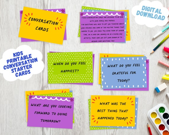 Conversation card game for kids and families - PRINTABLE