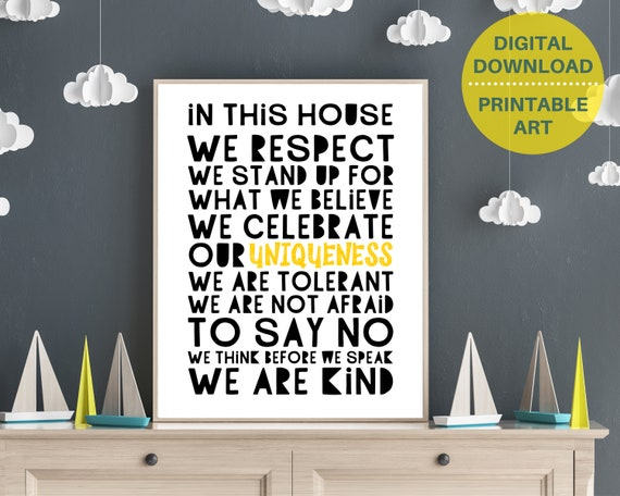 PRINTABLE Respect poster, family rules print, home wall decor, We Are Kind word art, kids house rules, positive family quote, Inspirational