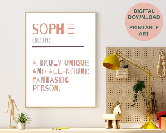 Girls personalised definition print, gift for girl, girls bedroom decor, dictionary art, girl inspirational quote, fun kids print, PRINTABLE