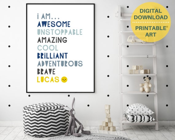 Boys bedroom decor, PRINTABLE, I Am Awesome boys personalised print, gift for boy, custom boys name sign, boys inspirational quote art