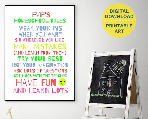 Homeschool Rules printable wall art, girls homeschool personalized print, homeschool decor, homeschool poster, homeschool family