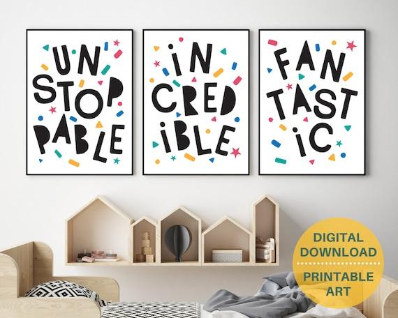 PRINTABLE typography poster set, kids motivational word art prints, kids monochrome art, kids room decor, playroom wall art, classroom decor