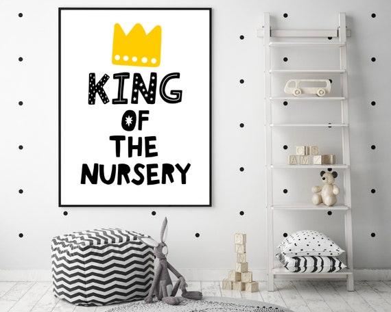 Boys nursery decor, nursery wall art, King Of The Nursery print, baby shower gift for boy, boys monochrome nursery decor, INSTANT DOWNLOAD