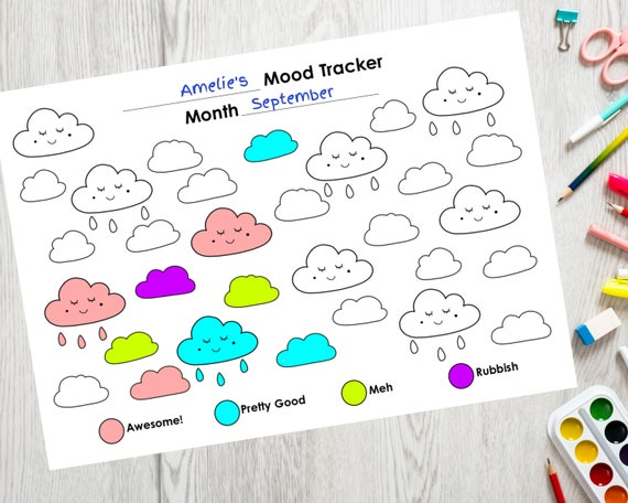 PRINTABLE mood tracker, self care activity for kids, children's daily tracker, clouds colouring sheet, kids monthly mood tracker activity