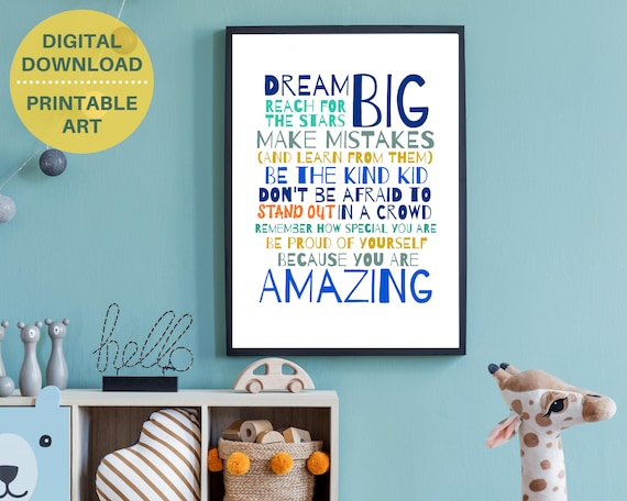 PRINTABLE encouragement quote poster, gift for teen boy, blue room decor, teen word art, teens inspirational quote print, positive wall art