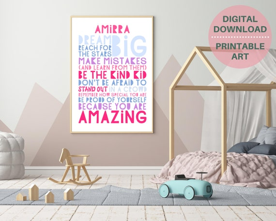 PRINTABLE Dream Big personalized poster, custom girls wall art, girls room decor, girls inspirational poster, teens positive quote art