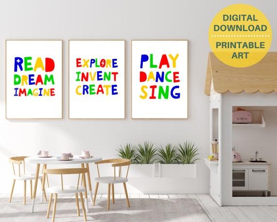Set of 3 playroom signs, creative play posters, PRINTABLE playroom decor, play room signs, kids wall art, unisex playroom prints, nursery