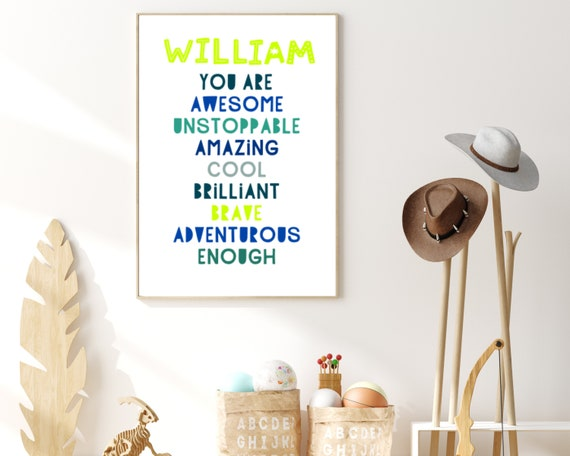 Personalized YOU ARE ENOUGH kids wall print, custom gift for boy, kids room decor, boys wall art, inspirational poster. Digital download