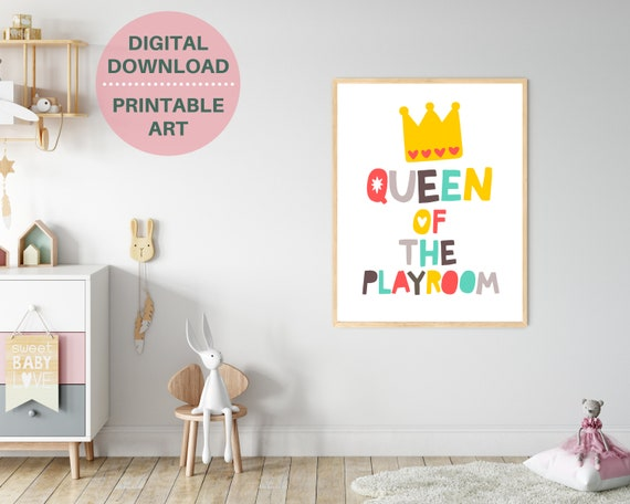 Playroom wall decor, girls PRINATBLE Queen Of The Playroom poster, gift for girl, girls room art, girls playroom print, fun playroom sign