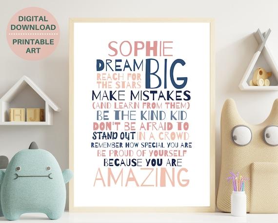 Personalized teen girls inspirational quote print,  PRINTABLE custom art for girl, teens room decor, teen girl wall decor, self care gift