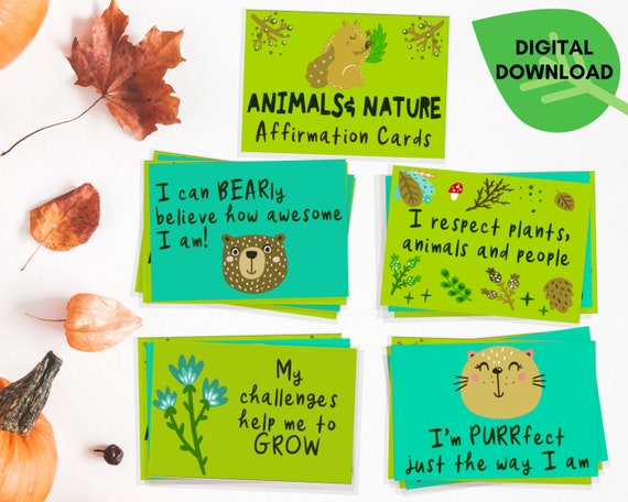 Positive affirmation cards, PRINTABLE kids nature affirmations set, positive gift for kids, wellbeing activity, kids self esteem, animals