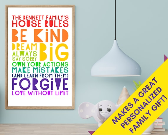 PRINTABLE house rules poster, personalized family gift, custom family room decor, house rules print, rainbow word art, positive quote print