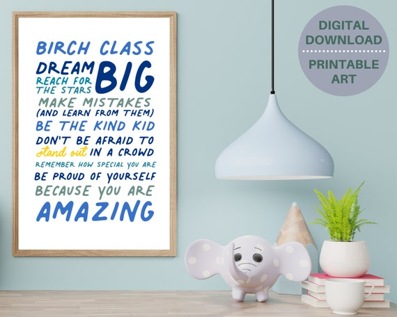 Class gifts from teacher, positive quote digital print, personalized class gift, kids children's inspirational poster, positive affirmation