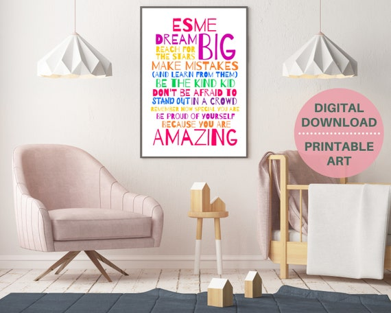 Daily affirmations for kids, personalized positive affirmation poster, teen girl positive quote art, girls motivation poster, affirm print