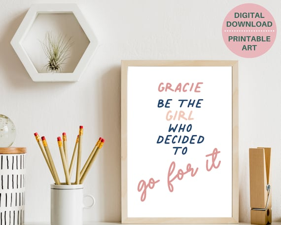 Personalized inspirational quote print, gift for teen girl, PRINTABLE custom girls wall art, teen girl room decor, teens positive quote art