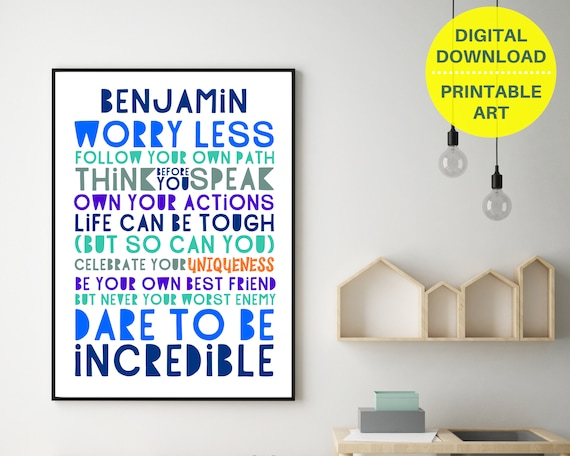 PRINTABLE Worry Less personalized poster, custom boys wall art, teen room decor, teen boy inspirational poster, boys positive quote art