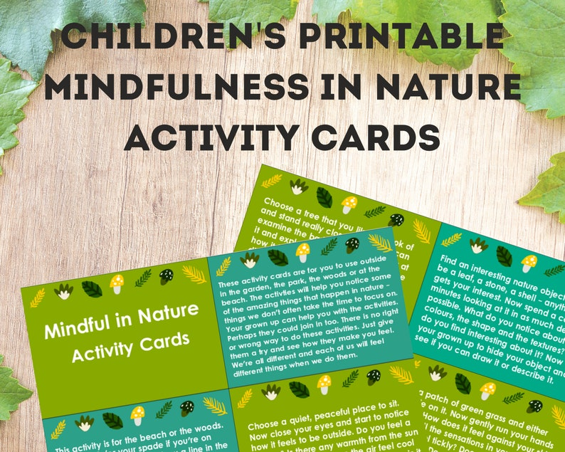 Kids printable, mindfulness nature activity cards, outdoor activities,  printable activities, nature activities, kids game, relaxation